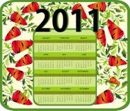 Calendar for Year 2011 (starts Sunday) Royalty Free Stock Image