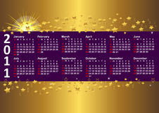 Calendar for year 2011. vector 10eps. Calendar for year 2011 against gold background with stars. vector 10eps Stock Photography