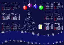 Calendar for year 2011. vector. Calendar for year 2011 with stylized christmas tree. american style. vector Stock Photography