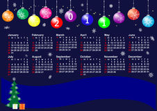 Calendar for year 2011. vector. Calendar for year 2011 with christmas balls. american style. vector Stock Photos