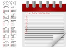 Calendar for year 2011. vector. Royalty Free Stock Photo