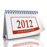 Calendar year 2012 desktop organizer. Monthly desktop Organizer on a white background with a page curl on the top page Stock Photo
