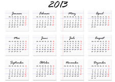 Calendar for the year 2013 in German (vector). A calendar for the year 2013 in German Stock Photos