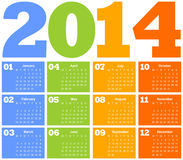 Calendar for Year 2014. 2014 colorful calendar. vector illustration Royalty Free Stock Photo