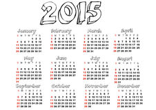 2015 calendar. The calendar for 2015 year vector illustration