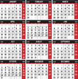 Calendar 2016. Calendar for the year of 2016 Stock Images
