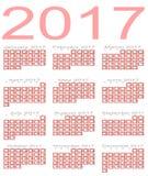 Calendar for 2017 stock photos