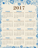 Calendar for 2017 year. Abstract floral background with blue flowers and leaves Stock Images