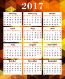 Calendar for 2017 year. On abstract geometric background Royalty Free Stock Images