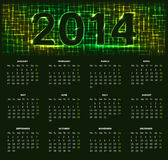 2014 calendar. Calendar for 2014 year with abstract pattern against black background Stock Images
