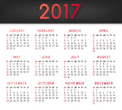 Calendar for the year 2017. All months January-March royalty free illustration