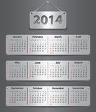2014 calendar. Calendar for 2014 year attached with metallic tablets. Vector illustration stock illustration