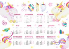 Calendar for the year 2019 baby cute unicorns Stock Photo