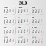 Calendar 2018 year . Banner design. Vector illustration. Eps 10 Royalty Free Stock Photography