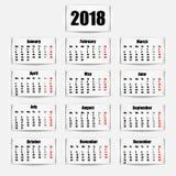 Calendar 2018 year. Banner design. Vector illustration. Eps 10 Royalty Free Stock Photography