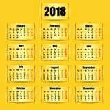 Calendar 2018 year. Banner design. Vector illustration. royalty free illustration