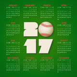 Calendar for 2017 Year with baseball ball on bright green background. Sport, games theme. Week starts from sunday. Modern Creative Vector Design Print Template Vector Illustration