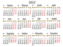 Calendar for 2015 year Stock Images
