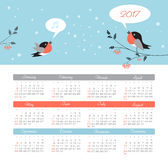 Calendar 2017 year with bird. Week Starts Sunday. Modern vector Calendar 2017 year with bird. Week Starts Sunday, eps 10 Stock Photos