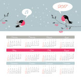 Calendar 2017 year with bird. Week Starts Sunday. Modern vector Calendar 2017 year with bird. Week Starts Sunday, eps 10 Royalty Free Stock Image