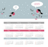 Calendar 2015 year with birds Royalty Free Stock Image