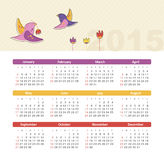 Calendar 2015 year with birds. Vector, eps 10 Royalty Free Stock Photography