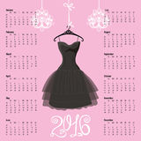 Calendar 2016 year.Black dress Silhouette. Calendar 2016 year.Black Dress Design.Silhouette of woman little black dress with chandelier and numbers.Pink vector illustration