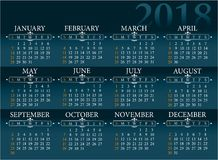Calendar for 2018 year Stock Image