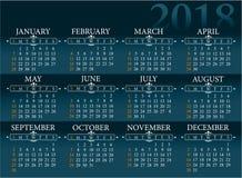Calendar for 2018 year. Blua background calendar for 2018 year Stock Image