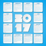 Calendar for 2017 Year on a blue background. Week starts from sunday. Modern Creative Vector Design Print Template. Holiday vector illustration. Paper layers Vector Illustration