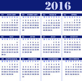 Calendar for the year 2016 Royalty Free Stock Image