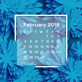 Calendar 2018 year. Blue February. Origami flower. Paper cut style. Week starts from sunday. Winter floral background. Square frame. Text. Vector illustration Royalty Free Stock Photography