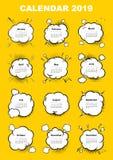 Calendar for 2019 year. Boom comic book explosion, speech bubble vector illustration. Week starts on sunday. vector illustration
