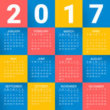 Calendar for 2017 Year on bright colorful background. Week starts from sunday. Modern Vector Design Print Template. Calendar for 2017 Year on bright colorful Vector Illustration