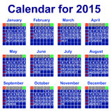 Calendar for 2015 year. Stock Image