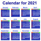 Calendar for 2021 year. Stock Images