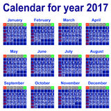 Calendar for 2017 year. Royalty Free Stock Photography