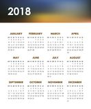 Calendar for 2018 year. On a white background. Week starts monday. Vector design template Royalty Free Stock Images
