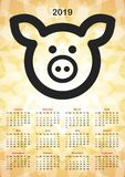 Calendar for the year 2019. The year of the pig. Vector format stock illustration