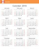 Calendar 2019 year for Canada country royalty free illustration