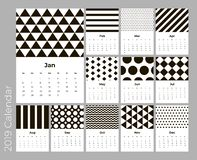 Calendar 2019 year, A4 cards vector with black pattern. Calendar 2019 year, A4 cards vector with black geometric pattern. Eps 10 royalty free illustration