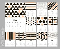 Calendar 2019 year, A4 cards vector with pattern. Calendar 2019 year, A4 cards vector with geometric pattern. Eps 10 vector illustration