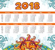 Calendar 2018 year celestial style. Week starts Sunday Royalty Free Stock Images