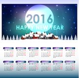 Calendar for the year 2016. Christmas background. Illustration of Calendar for the year 2016. Christmas background Stock Image