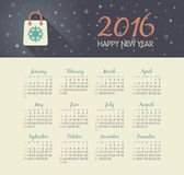 Calendar 2016 year with christmas bag. Vector, eps 10 Royalty Free Stock Photography
