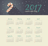 Calendar 2017 year with christmas Candy Cane. Modern vector Calendar 2017 year with christmas Candy Cane . Week Starts Sunday, eps 10 Stock Photography