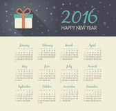 Calendar 2016 year with christmas gift. Vector, eps 10 vector illustration