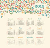 Calendar 2015 year with Christmas pattern. Vector, eps 10 Stock Images