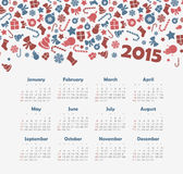 Calendar 2015 year with Christmas pattern Royalty Free Stock Image