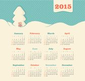 Calendar 2015 year with Christmas tree. The modern calendar 2015 year vector, eps 10 stock illustration